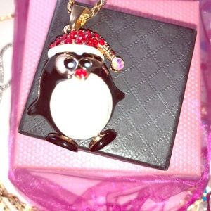 Penguin Necklace Betsey Johnson 28 inch nwt